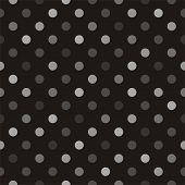 Seamless vector pattern with beige, brown and grey polka dots on a black background for desktop wallpaper or halloween website design. poster