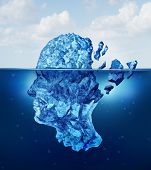 Brain trauma and aging or neurological damage concept as an iceberg floating in an ocean breaking apart as a health crisis metaphor for human mental stress and a symbol for psychology and psychiatric problems. poster