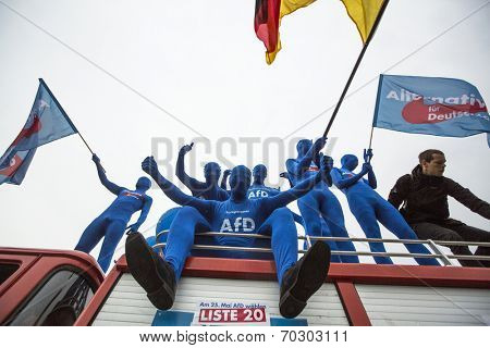 BERLIN, GERMANY - MAY 23, 2014: Activists rally in support of AfD (Alternative for Germany) - political party founded in 2013. Won 7 of Germany's 96 seats for European Parliament in May 2014 election.
