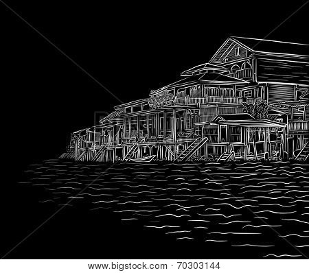 Editable vector illustration sketch of waterside wooden buildings