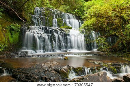 Purakaunui Falls is a beautiful small waterfall on the Catlins (South of the Southern island), New Zealand