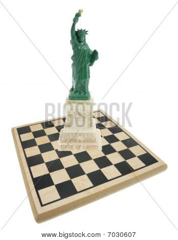 Statue Of Liberty And Chess Board