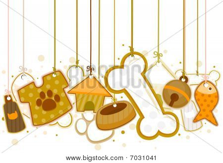 Pet Objects On Strings with Clipping Path poster