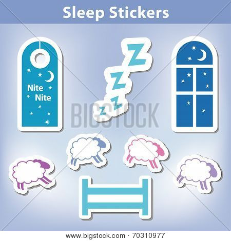 Sleep Stickers: count sheep jumping a fence, starry night, window, moon, stars, door hanger for a good nights dreaming,  Zzz. poster