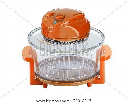 Empty Orange Electric Convection Oven