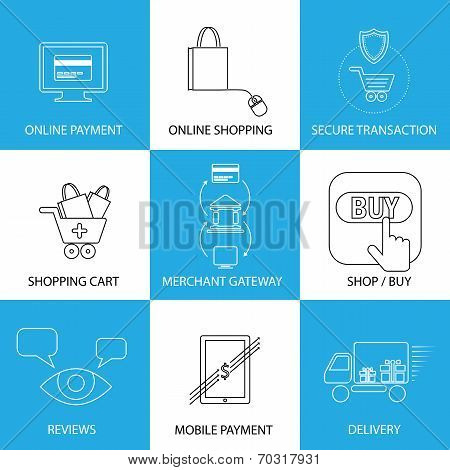 Flat Line Icons On Shopping, E-commerce, M-commerce