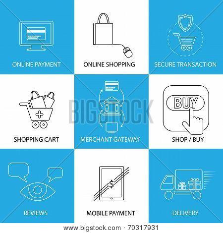 Flat Line Icons On Shopping, E-commerce, M-commerce
