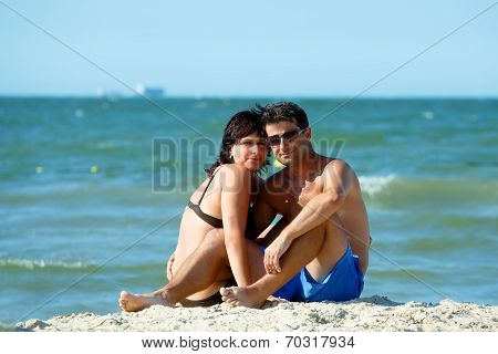 Middle Age Couple On Tunisian Beach