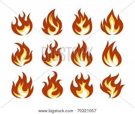 Vector Fire Flame Icon Set in Flat Style