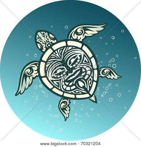 Swimming sea turtle with Polynesian tribal pattern