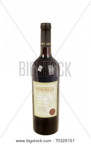 West Point - August 17, 2014: Bottle of Il Gioiello Winery 2009 Sierra foothills Amador county Zinfandel