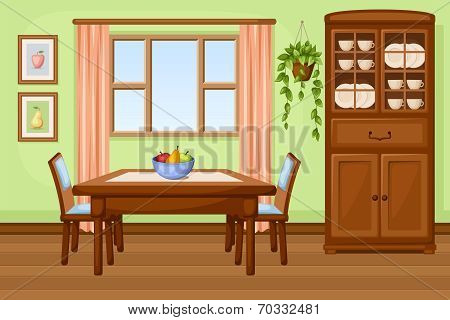 Dining room interior with table and cupboard. Vector illustration.