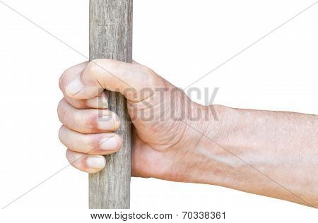 Male Hand Holds Old Wooden Staff