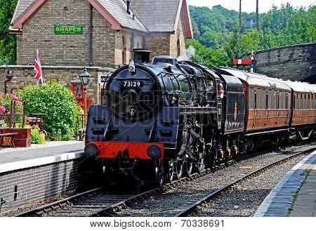 Steam train in Arley railway station.