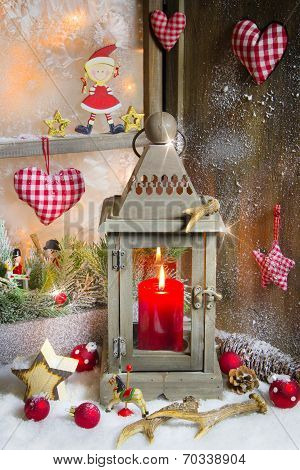 Rustic Lantern With Candlelights For Christmas - Classic In Red And White For A Greeting Card