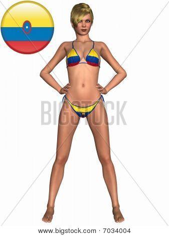 Sexy Girl - Bikini with Flagg