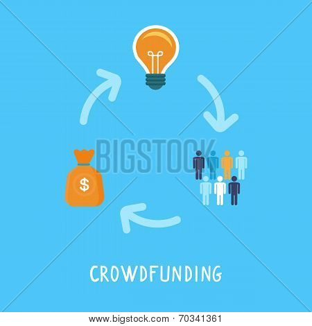 Vector Crowdfunding Concept In Flat Style