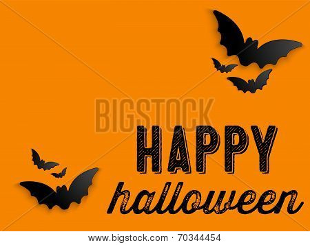 Happy Halloween Ghost Bat Icon Background Vector poster