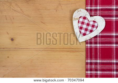 Greeting Card With Checkered Red And White Heart For Christmas Or Wedding Wood