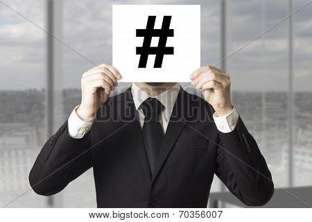 Businessman Hiding Face Hash Symbol Tag
