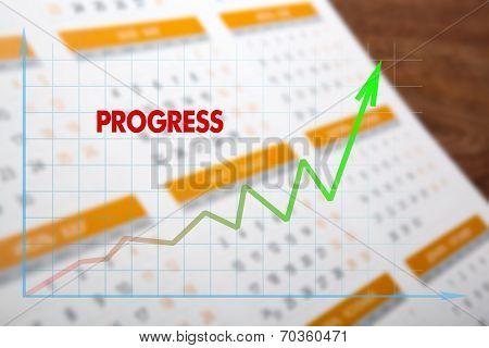 Colored Wall Calendar With Diagram Progress