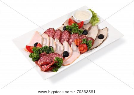 Cold Cuts On Plate, Isolated Over White Background.