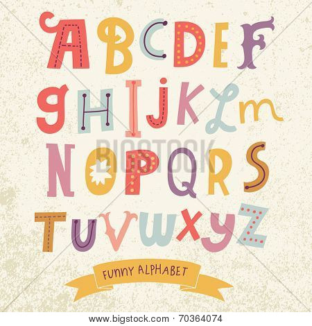 Bright alphabet set in vector. Stylish letters in different modern colors. Cartoon abs icons