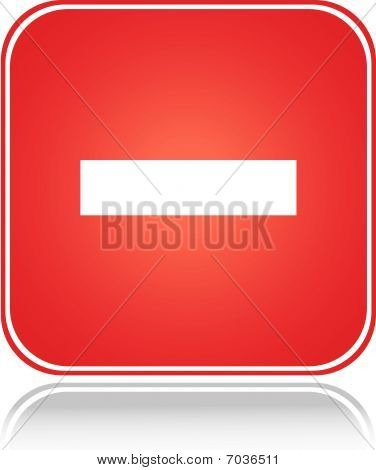 Red square sign cancel action minus