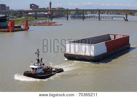 Empty Barge, Fraser River, British Columbia