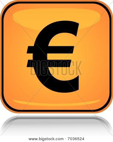 Yellow square icon euro with reflection