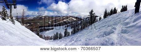 Big powder storm in April at June Mountain, CA poster
