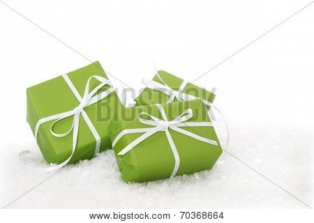Green Gift Box Tied With White Ribbon - Present Isolated For Christmas Or Birthday