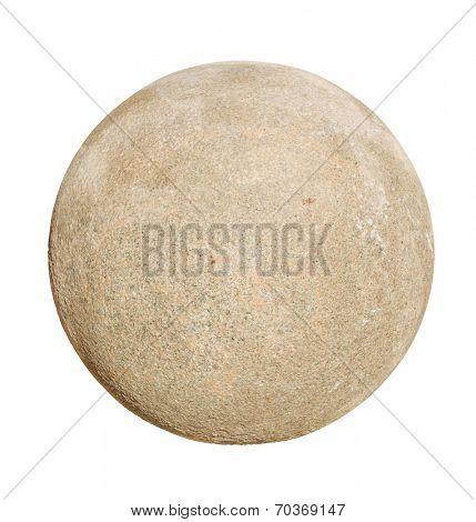 Granite stone ball isolated on white background.