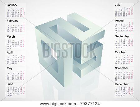 2015 Emblem With Calendar Schedule