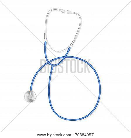 Medical stethoscope or phonendoscope isolated on white