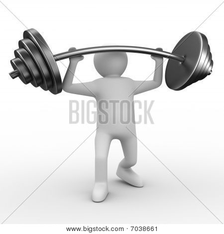 Weight-lifter Lifts Barbell On White. Isolated 3D Image