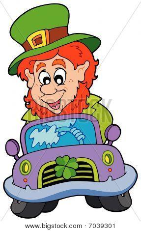 Cartoon leprachaun driving car