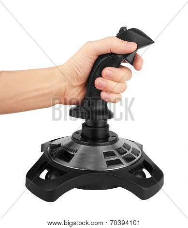 Computer joystick with hand isolated on white background