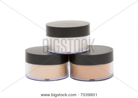 Cosmetic Jars With Powder Isolated In White