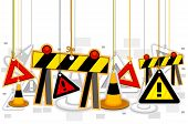 Construction Signs On Strings with Clipping Path poster