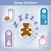 Sleep Stickers: Teddy bear with a big heart, milk, cookies, alarm clock, door hangers for a good nights dreaming in spiral zzz. poster