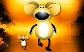 A  mice walking  with shadow picture background poster