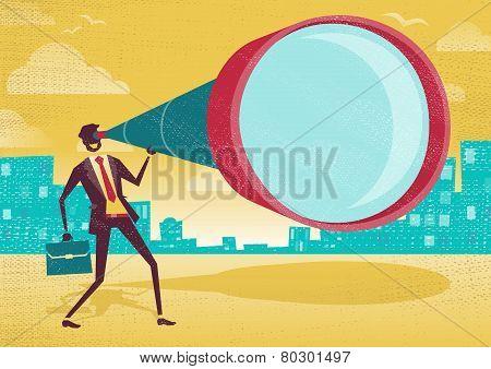 Businessman Looks Through His Telescope.