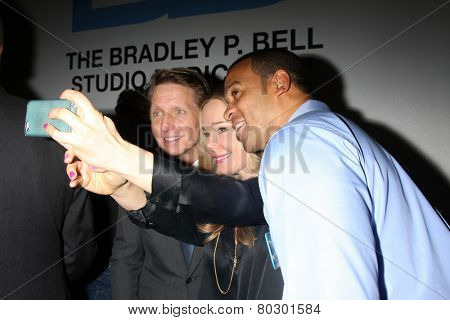 LOS ANGELES - JAN 14:  Brad Bell, Jennifer Gareis, Aaron Spears as the  Bold and Beautiful Celebrates 7000th Show at a CBS Television City on January 14, 2015 in Los Angeles, CA