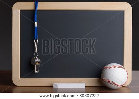 Slate With Baseball; Chalk And Whistle
