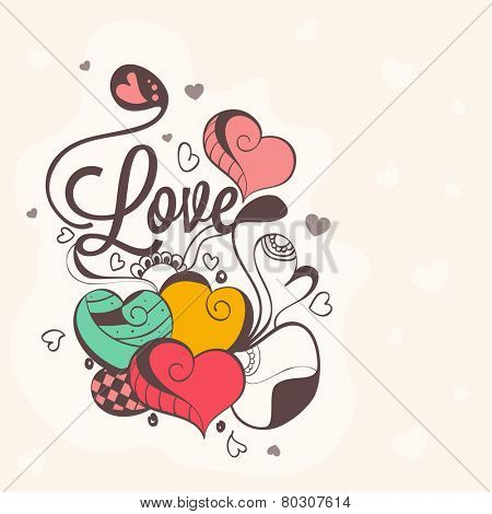Beautiful love card design with floral decorated hearts for Happy Valentines Day celebration.