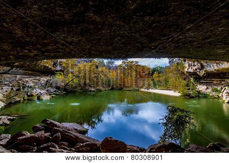 A View of Beautiful Hamilton Pool, Texas, in the Fall, just inside the Grotto of the Sinkhole.