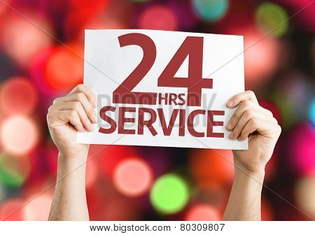 24 Hrs Service card with colorful background with defocused lights