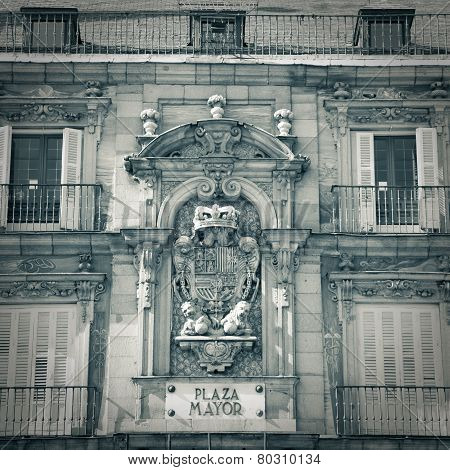 Plaza Mayor Street Sign In Madrid - Monochrome