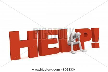 "3D human sits on the word ""HELP"" hands over his face poster"